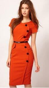 Orange Short Sleeve Belt Dress