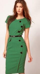 Green Short Sleeve Belt Dress
