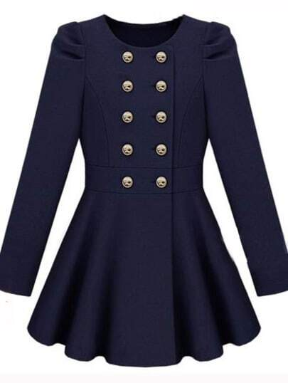 Gossip Girl Navy  Long Sleeve Double Breasted Flare Hem Wool Coat