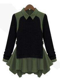 Black Long Sleeve Contrast Green Lapel Ruffle Sweater