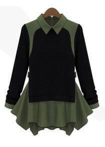 Black Long Sleeve Contrast Green Lapel Ruffle Sweater
