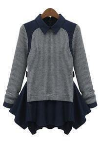 Grey Long Sleeve Contrast Navy Lapel Ruffle Sweater