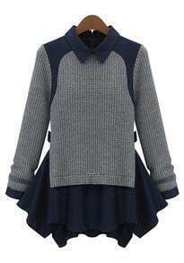 Grey Long Sleeve Contrast Navy Lapel Ruffle Sweater