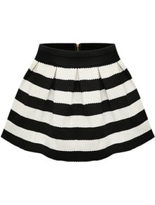 Black Apricot Stripe Flare Zip Skirt