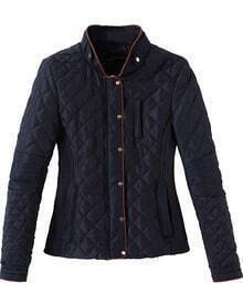 Navy Stand Collar Long Sleeve Quilted Patterned Coat