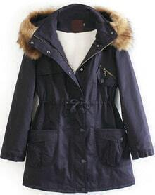 Navy Detachable Fur Trimmed Hood Lined Parka