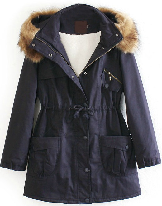 Navy Detachable Fur Trimmed Hood Lined Parka -SheIn(Sheinside)