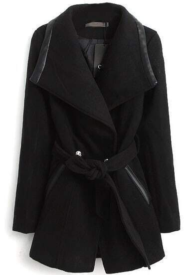 Black Lapel Contrast PU Leather Belt Coat