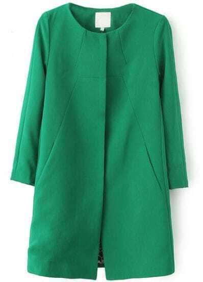 Green Long Sleeve Slim Pockets Trench Coat