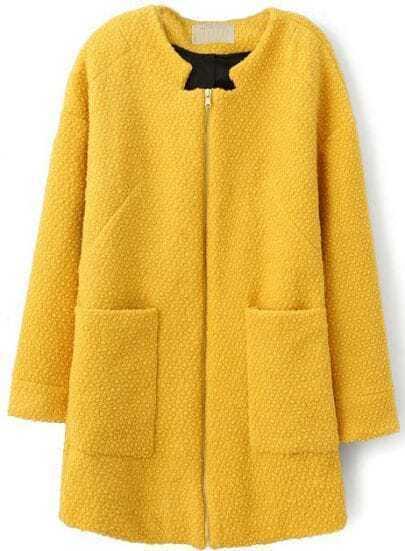 Yellow Long Sleeve Zipper Pockets Coat