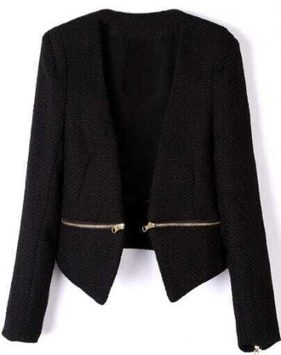 Black V Neck Long Sleeve Zipper Embellished Coat
