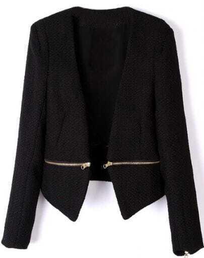Чёрное V вырезом длинным рукавом украшенные молнии пальто