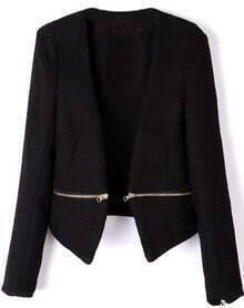 Black V Neck Long Sleeve Zipper Embellished Coat