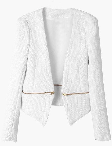 Blazer With White v Neck White v Neck Long Sleeve