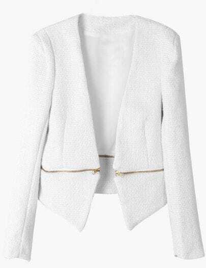 White V Neck Long Sleeve Zipper Embellished Coat