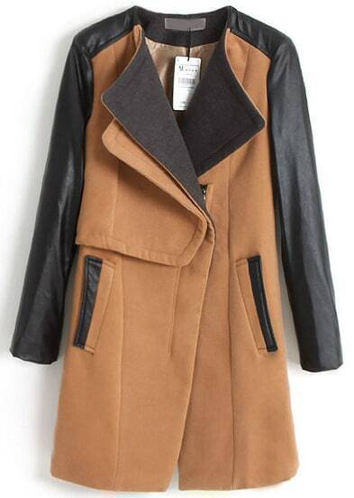 Camel Contrast PU Leather Long Sleeve Pockets Coat