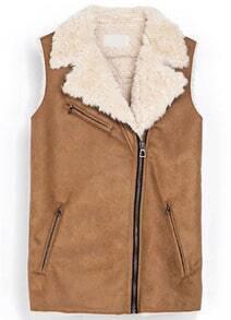 Camel Fur Lined Lapel Zipper Vest