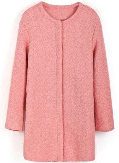 Pink Long Sleeve Simple Design Woolen Coat