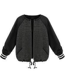 Grey Contrast PU Leather Long Sleeve Zipper Coat