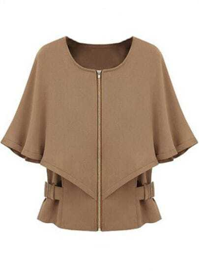 Camel Half Sleeve Zipper Crop Cape Coat
