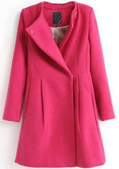Rose Red Lapel Long Sleeve Slim Woolen Coat