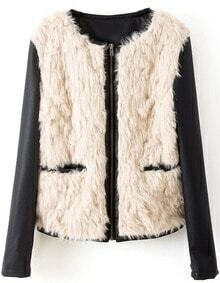 Beige Contrast PU Leather Long Sleeve Fur Outerwear