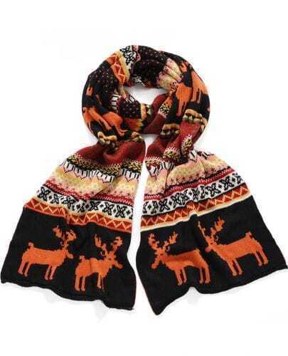 Orange Vintage Deer Pattern Scarves