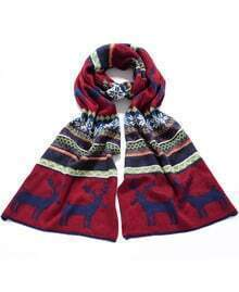 Blue Red Vintage Deer Pattern Scarves