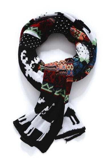 Black White Vintage Deer Pattern Scarves