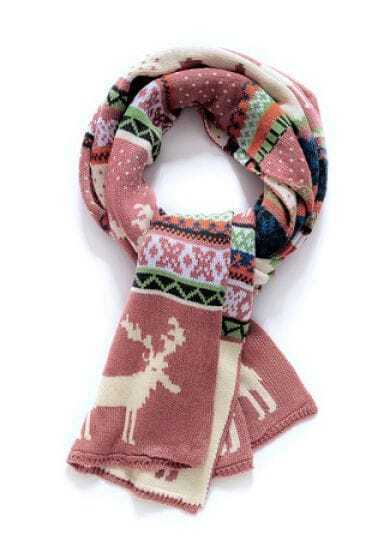 Pink Vintage Deer Pattern Scarves