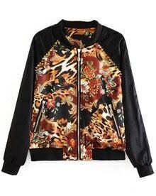 Black Long Sleeve Contrast Leopard Rivet Jacket