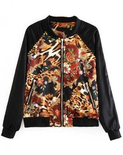 Black Long Sleeve Contrast Leopard Rivet Jacket