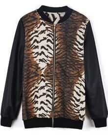 Black Long Sleeve Contrast Zebra Jacket