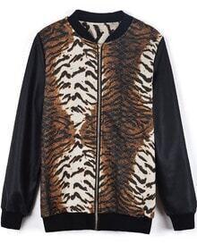 Black Long Sleeve Contrast Zebra Jacket