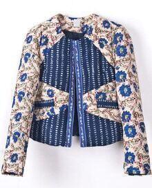Blue Long Sleeve Floral Crop Jacket