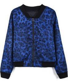 Blue Long Sleeve Leopard Zipper Jacket