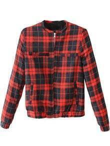 Red Black Plaid Long Sleeve Pockets Jacket