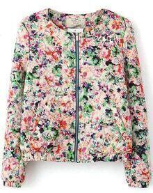 Multi Long Sleeve Floral Slim Crop Jacket
