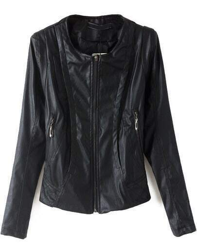 Black Long Sleeve PU Leather Crop Jacket