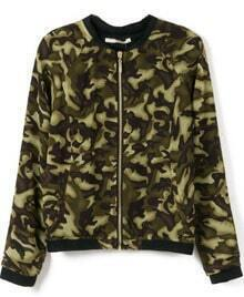 Green Camouflage Long Sleeve Crop Jacket