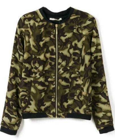 Green Camouflage Long Sleeve Crop Jacket