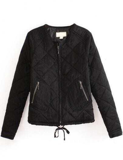 Black Long Sleeve Geo Pattern Zipper Jacket