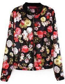 Black Long Sleeve Zipper Floral Crop Jacket