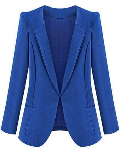 Blue Lapel Long Sleeve Slim Pockets Blazer