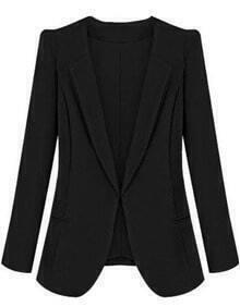 Black Lapel Long Sleeve Slim Pockets Blazer
