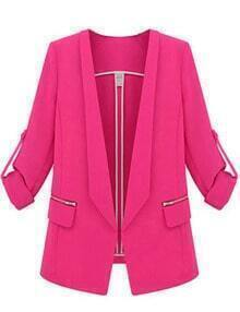 Rose Red Lapel Long Sleeve Slim Pockets Blazer