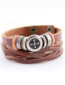 Silver Cross Brown Leather Bracelet