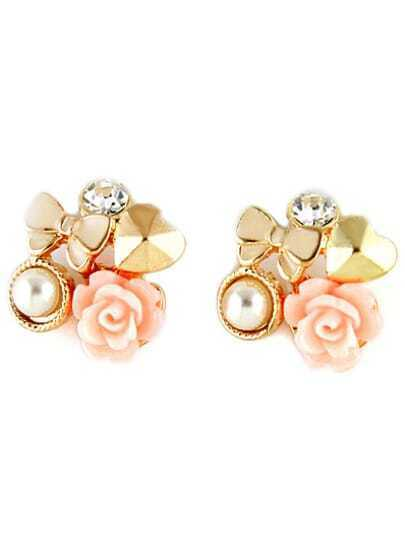 Gold Bow Heart Flower Stud Earrings