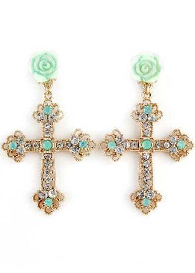 Green Flower Gold Diamond Cross Earrings