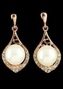 Gold Pearls Drop Earrings